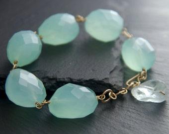 Aqua Chalcedony, Aquamarine, Gemstone Bracelet, Chunky Bracelet, 14K Gold Filled, Statement Bracelet, Natural Stone, Aqua, Gemstone Nugget