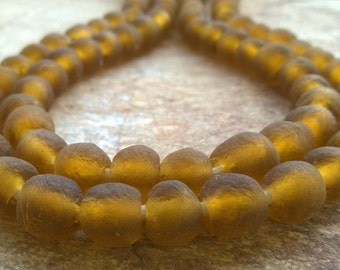 20 Amber Brown Beads,African Recycled Glass Beads,10-12 mm,African Glass Beads, 20 African Beads, Ghana Recycled Glass Beads, African Beads