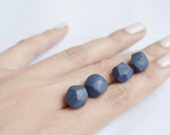Faceted blue Clay stud earrings (large), Geometric blue Clay earrings