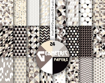 Geometric digital paper black brown gray beige cream chocolate coffe colors modern design triangle mosaic abstract background pattern scrap