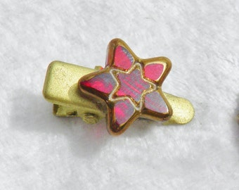 Red Stained Glass Star Hair Clip, 'My Teeny Tiny Hair Clips'