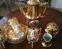 15 Piece Fragonard Gold Plated Porcelain Coffee Set