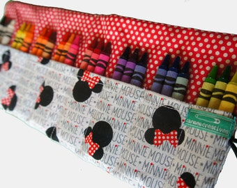 Crayon Roll, Minnie Mouse, Gift, Travel Crayon Storage