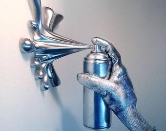Hand Splash Spray Can Sculpture