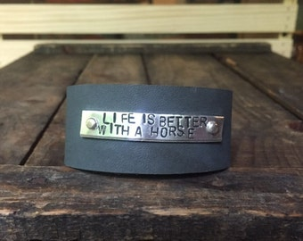 Life is Better With A Horse Leather Bracelet