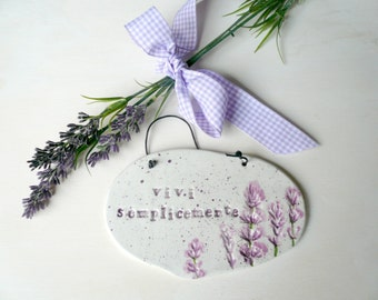 ceramic plate to hang with print ears Lavender-Lavender-truck identification plate plate with motivational phrase and lavender-ceramics