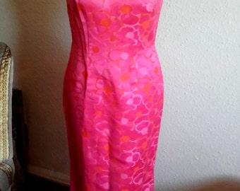 Vintage 60's Pink long Polynesian style Tiki pin up Wiggle Dress