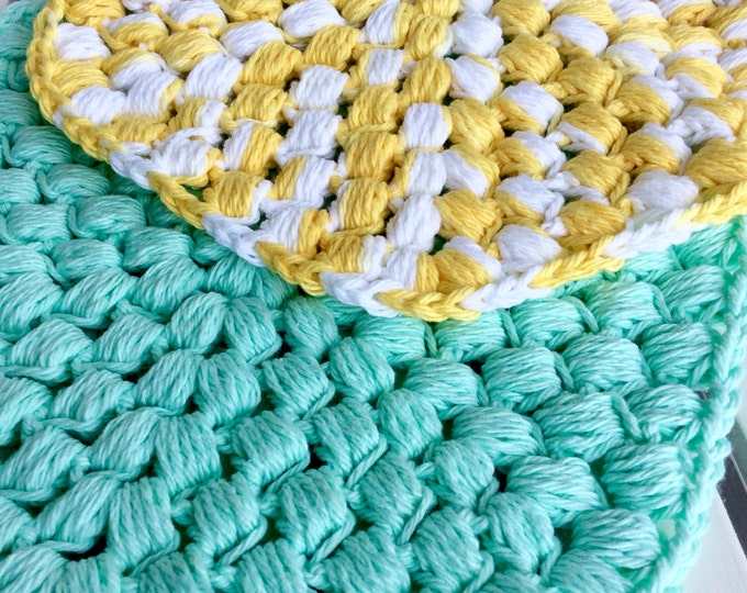 Crochet Cotton Textured Hot Plates | Set of 2 Colorful Pot Holders | Kitchen Trivets | Yellow and White Pot Holder | Mint Pot Holder