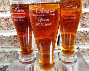 Groomsmen Gift, 2 Personalized Pilsner Beer Glass