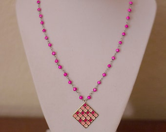 Pink Checkerboard Necklace