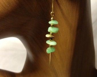 Green gemstone hoop earrings