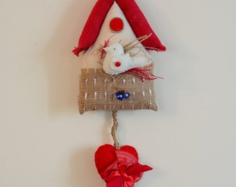 Hanging  Handmade & Unique  Red Birdhouse with Hearts