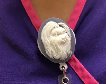 Maltese Shih Tzu Yorkshire Dog Cameo ID Badge Holder Medical & Office Professionals Nurses Doctors Teachers Spins 360 Degree Alligator Clip