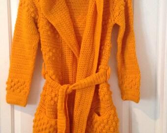 Vintage Hippie Boho 1970's Handmade Crocheted Sweater Coat (19x42)