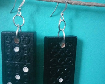 SALE Recycled Wooden Dominos Earrings - Upcycled Jewelry