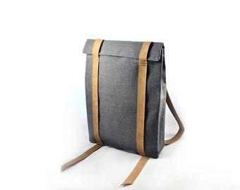 Laptop 17'' backpack, minimal canvas bag, personalised laptop bags, custom backpack 301