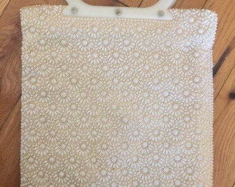 60's White Beaded Purse