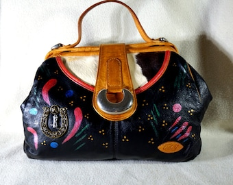 """Sybil's Collection Circle Y Leather Handbag, """" Sassy Cowgirl"""" One of a Kind Leather Handbag Made in USA"""