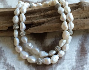 Long Freshwater Pearl Necklace with Silver Crystal Accent Beads, Pearl Necklace, Bridal Jewelry