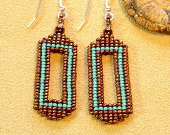 Rainbow bronze and Turquoise seed bead earrings