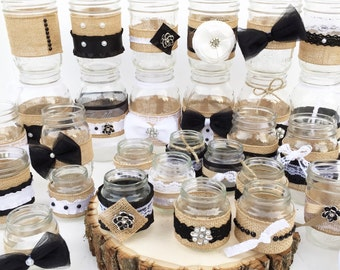 Set of 30 Shabby Chic Mason Jars, Rustic Centerpieces, Black and White Centerpieces, Wedding, Bridal Shower, Black and White, Anniversary