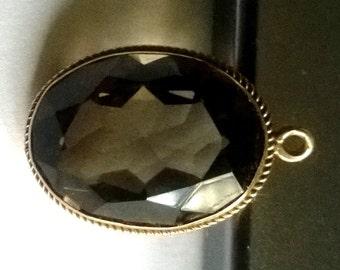 9K Gold Pendant with Smoky Topaz - Vintage