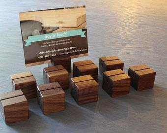 Wooden Menu Block (set of 10), Wooden Menu Holder, Wedding Name Card or Place Holder, Walnut Menu Block, Wood Display Block