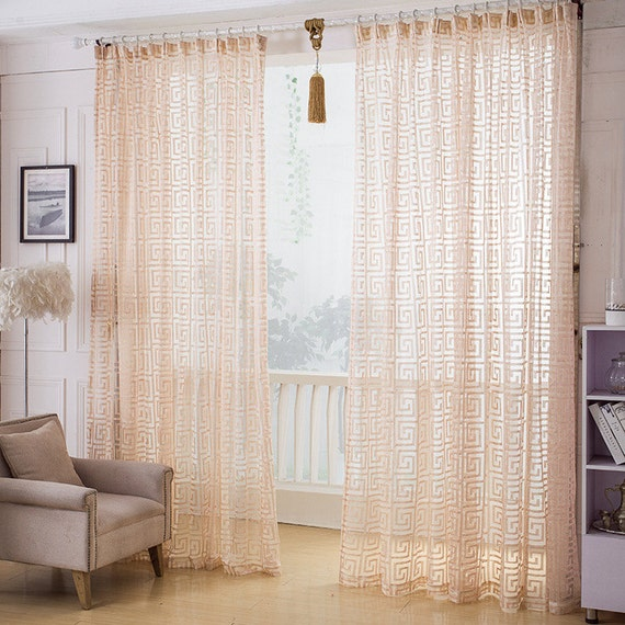 Greek Key Net Sheer Curtain Voile Panel One Custom Made