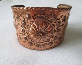 Vintage Native American Copper Wide Cuff Bracelet