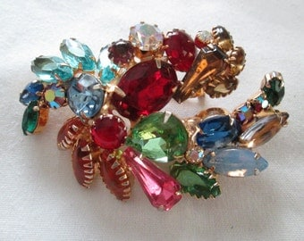Juliana Multi Color Rhinestone Brooch