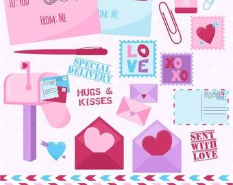 80% OFF SALE Valentine's Day Clipart, Valentine Clip Art, Mail Clipart, Mailbox Clipart, Stamp Clipart