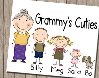 Grandma's Cuties Personalized Tee, Grandchildren Shirt, Grandkids Tee, Nana T Shirt, Grandmother Gift, Meemaw's Little Ones Clothing