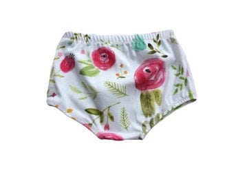 Organic Cotton Knit Pink Rosette Bloomers || Spring || Summer || kids clothes || baby clothes || toddler || shorts || floral