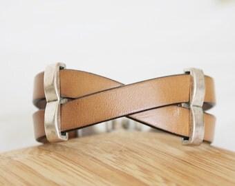 BRACKETS LEATHER BRACELET - Black Friday - Bracelet for men - jewelry - brown bracelet - brown leather -  bracelet beaded - Men - Gift idea