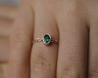 Emerald Engagement Ring, Unique Engagement Ring, Simple Engagement Ring, Fine Jewelry