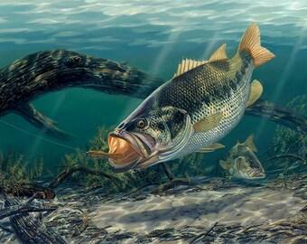 Bass Fishing Wall Decor, Large Wall Art Print, Large Bass Painting, Bass Wall Art, Bass Poster, Bass Print, Bass Art, Wildlife Art-5210