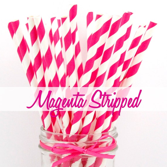 MAGENTA STRIPPED - Magenta Stripped Paper Straws - Party Paper Straws - Wedding - Birthday Decorations
