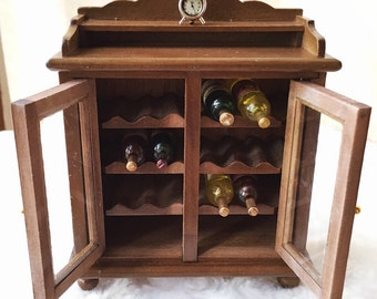 Miniature Wine Showcase,Miniature Wine Cabinet,Miniature display,Dollhouse Furniture,Miniature Cupboard,Miniature Furniture,Wine