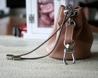 Dog treat bag from genuine soft lamb leather