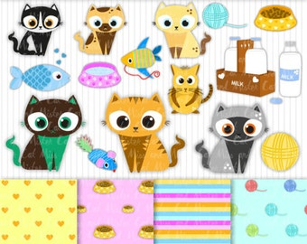 "15 Cats cliparts + 4 digital papers. Kitten vector graphics and digital papers. Commercial use. Model ""Lovely Cats Mix"""