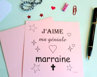 Map square - I love my great godparents - to thank - to advertise - pink - godmother