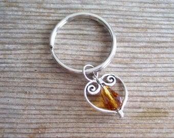 Heart Keychain, Topaz Bead Silver Heart Key Chain, Keychain Gift Idea, Filigree Heart Charm, Silver Heart Key Ring