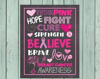 Breast Cancer Awareness-  Chalkboard Sign 8x10, 11x14 & 16x20 ** Digital File *****INSTANT DOWNLOAD**** (BRSTCANCER-Believe)