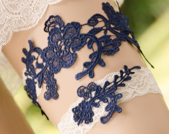 Navy Blue Lace Garter, Wedding Garter, Blue Bridal Garter, Lace Garter, Keepsake and Toss Garter, Something Blue Garter- MONIQUE GARTER SET