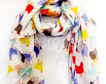 Beige / Off White Multicolour Chickens  Spring Summer / Autumn Scarf / Gift For Her / Womens Scarves / Fashion Accessories