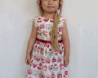 """Thea - Girl Classic Party Dress """"Sweet Cupcakes"""" Print"""