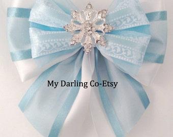 Elsa Costume Blue Flower Girl Bow Blue Wedding Aqua Wedding Blue Bridesmaid Blue Ballet Bow Snowflake Headband Blue Prom Accessory