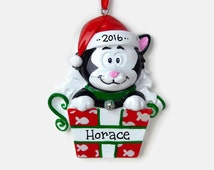 Black Kitten Personalized Ornament - Hand Personalized Christmas Ornament