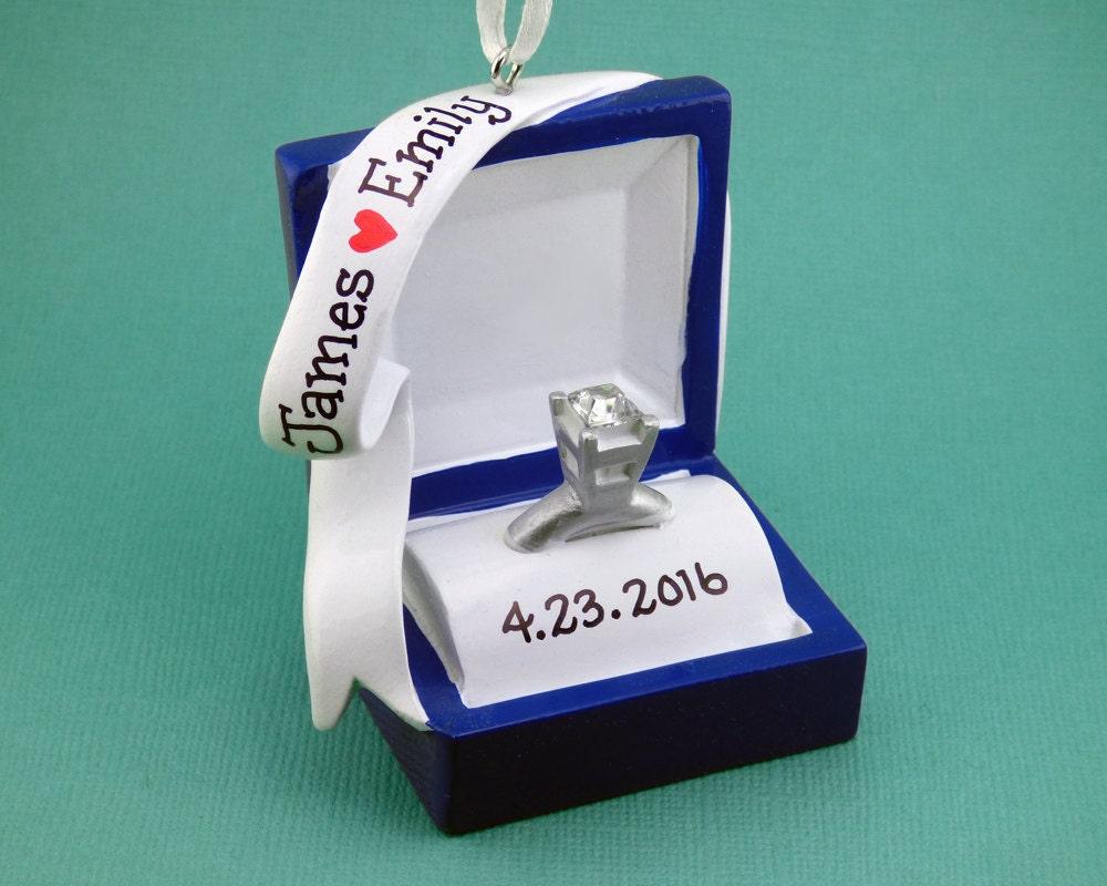Engagement ring christmas ornament - Ships Free Engagement Ring Personalized Ornament Ring Box She Said Yes