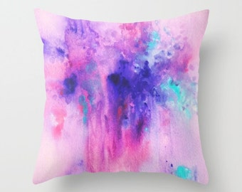 Pink, Purple and Turquoise , Watercolor Pillow, Throw Pillow, Home Decor, Accent Pillow, with Optional Insert